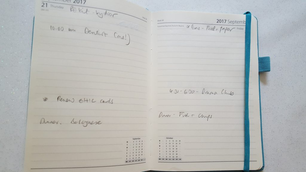 How to layout a diary
