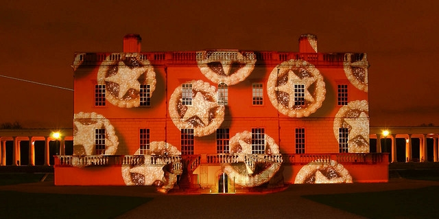Mince pies projected onto the National Maritime Museum